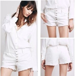 Free People White Button Fly Cutoff Shorts